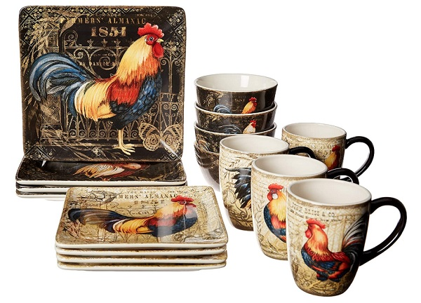 Certified International 89014 Gilded Rooster Dinnerware