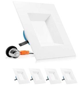 PARMIDA 6 inch Dimmable LED Square Recessed Retrofit Lighting